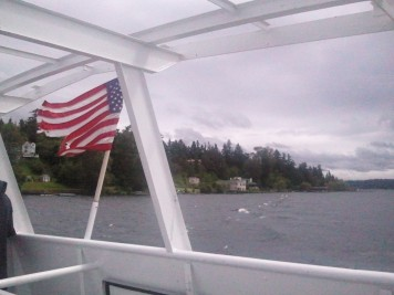 Lake cruise on a very cloudy day
