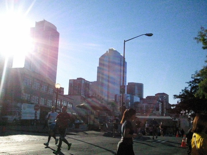Sun shining through the skyline