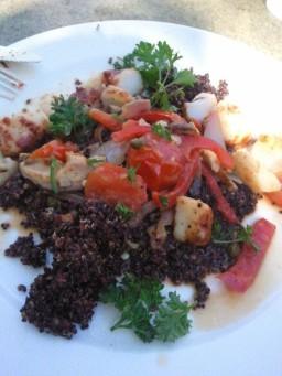 Scallops Piccata with red quinoa