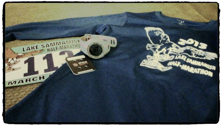 t-shirt, bib, timer and GPS watch