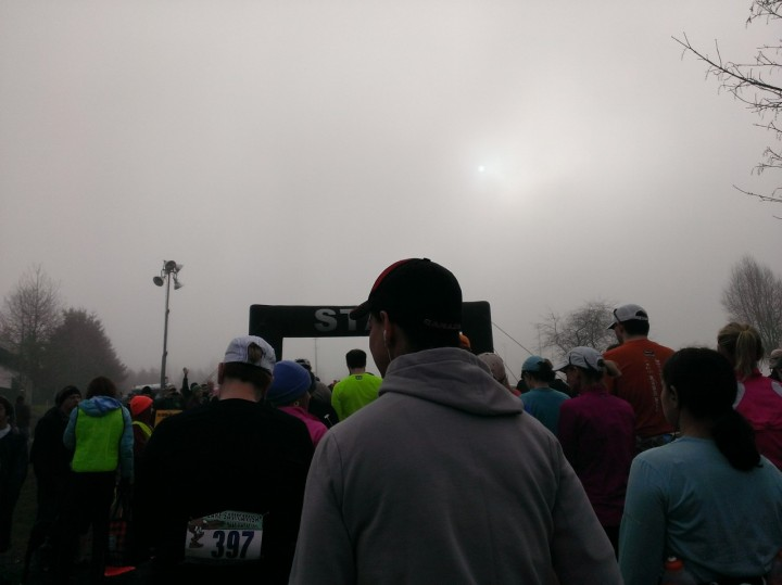 About to cross the starting line