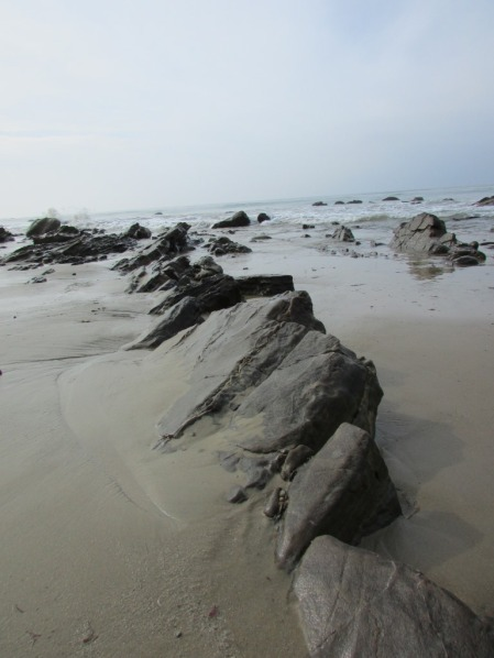 Rocks coming out of the sand