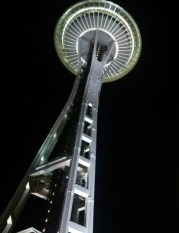 Looking up Space Needle at night