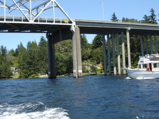 Just past below the 'high' ends of 520 floating bridge, Lake Washington, WA