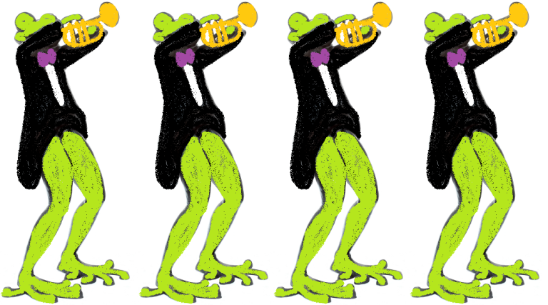 Frogs playing the trumpet