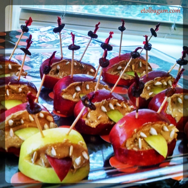Apple monster with sun or almond butter